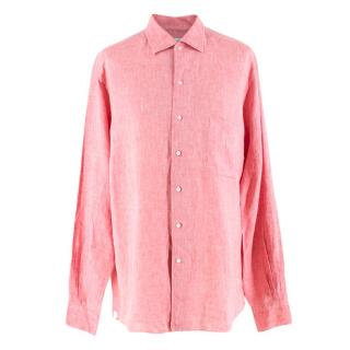 Loro Piana Men's Coral Linen Shirt