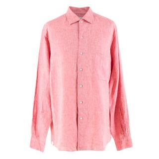 Loro Piana Men's Coral Linen Shirt