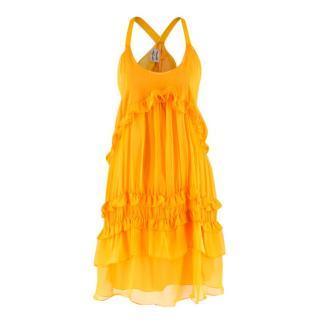 Philosophy Di Alberta Ferretti Yellow Ruffle Silk Dress
