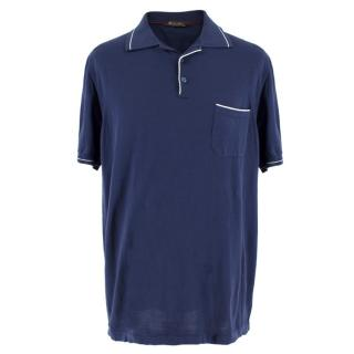 Loro Piana Men's Navy Cotton Polo Shirt