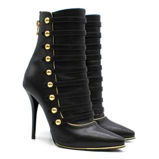 Balmain Black & Gold Alienor Leather Ankle Boots