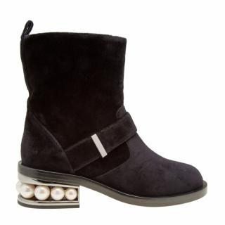 Nicholas Kirkwood Casati Pearl-heeled Velvet Boots