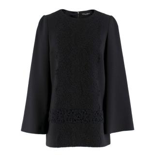 Dolce & Gabbana Black Wool-blend Embroidered Top