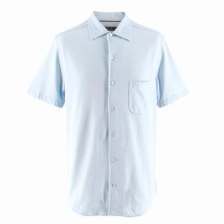 Loro Piana Men's Light Blue Cotton Polo Shirt