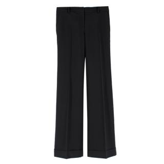 Burberry Black Wool-blend Casual Trousers