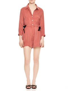 Sandro Red Feu Side-Tie Drawstring Romper