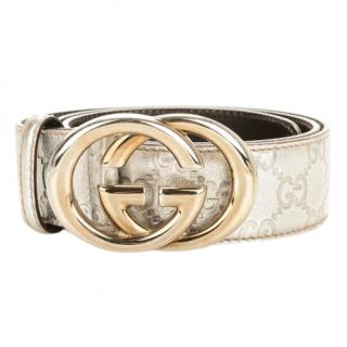 Gucci Interlocking Silver Leather Belt
