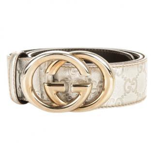 Gucci Interlocking Silver Leather Belt
