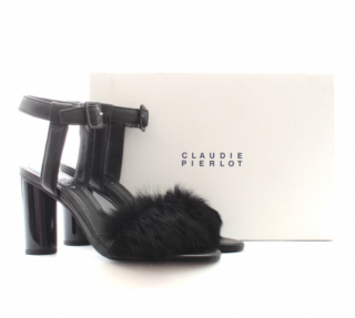 Claudie Pierlot 'Amoscue' Rabbit Fur-Trim Sandals