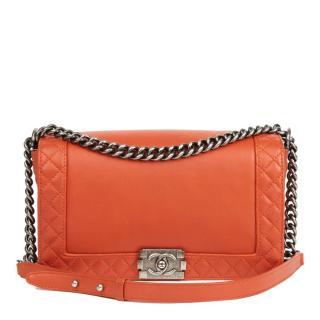 Chanel Orange Calfskin Leather Medium Reverso Boy Bag