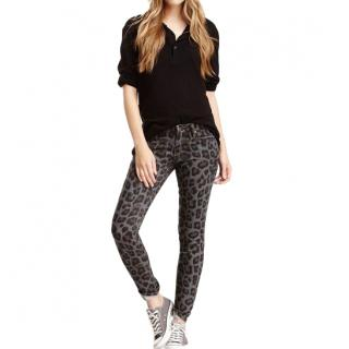 Mother The Looker Leopard Print Skinny Jeans