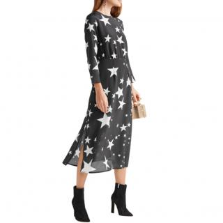 Rixo Alice Black Star Print Midi Dress