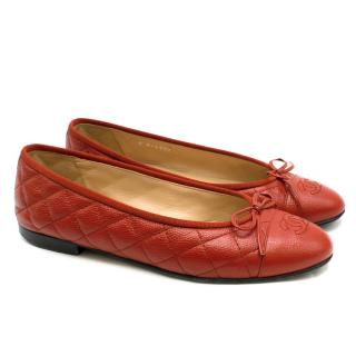 Chanel Red Quilted Caviar Leather Ballerina Flats