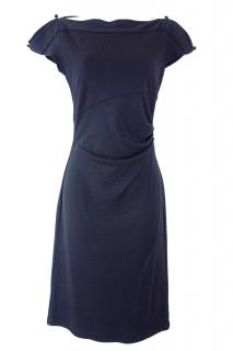 Diane Von Furstenberg Wool Draped Navy Dress