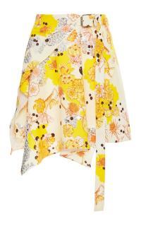 Carven Robot Flower Crepe Skirt