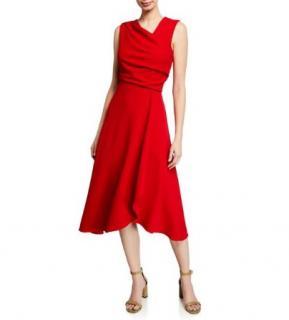 Donna Karan Red Draped Midi Dress