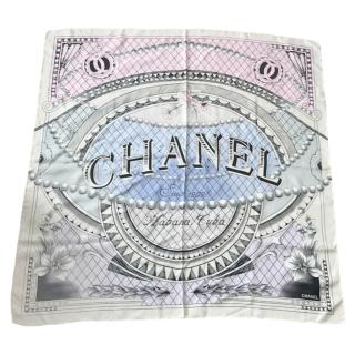 Chanel Cuba collection large square silk scarf