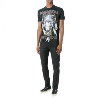 Dsquared Live Tour-Print Cotton T-Shirt