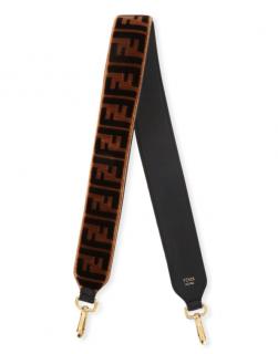 Fendi Strap You FF Logo Velvet & leather shoulder strap