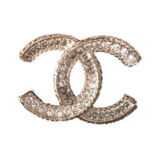 Chanel CC Two-Tone Diamante Brooch