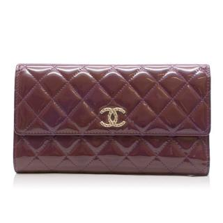 Chanel Quilted Patent Brilliant Flap Wallet