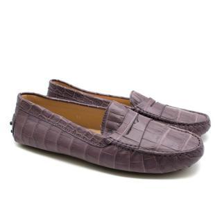 Tod's Purple Crocodile-effect Leather Loafers