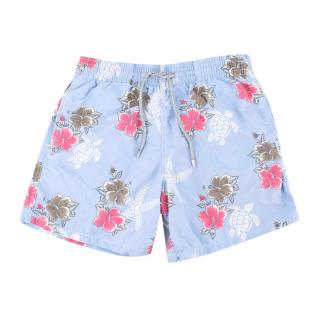Vilebrequin Men's Light Blue Floral Print Swim Shorts