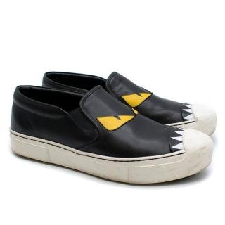 Fendi Monster Eyes Leather Loafers