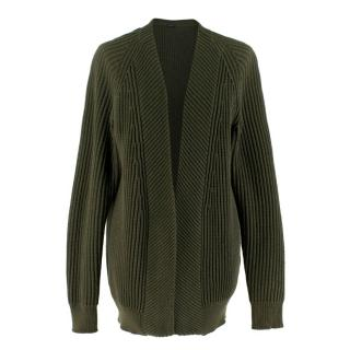 Joseph Green Ribbed Knit Open Cardigan