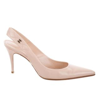 Chanel Quilted-Slingback Nude Leather Pumps
