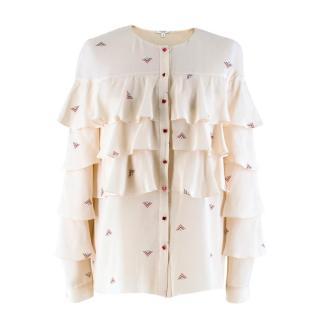 Vilshenko Pale Pink Printed Ruffle Blouse