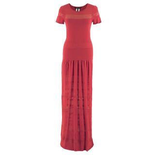 BCBG Max Azria Red Knit Maxi Dress