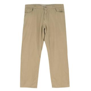 Canali Khaki Straight-leg Basket-Weave Trousers