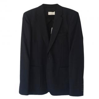 Sandro Navy Cotton & Wool-Blend Blazer