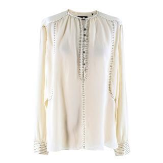 AY (Naz) Isabel Marant Cream Bead Embellished Silk Blouse