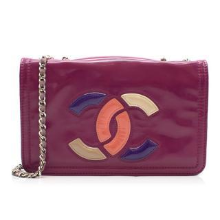 Chanel Purple Vinyl Lipstick Ligne Flap Bag