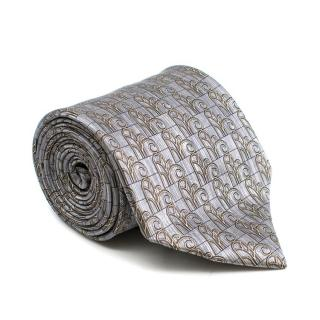 Lanvin Grey Printed Silk Tie