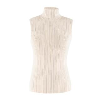 La Perla Beige Ribbed Sleeveless Top