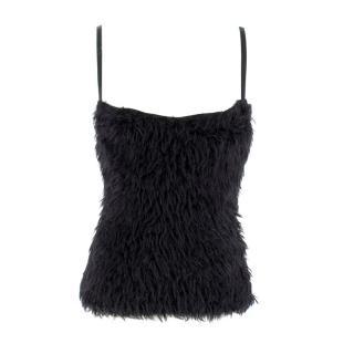 La Perla Black Faux Fur Shearling Bustier Top