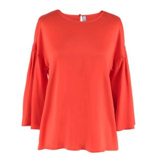 Blumarine Red Silk Blouse