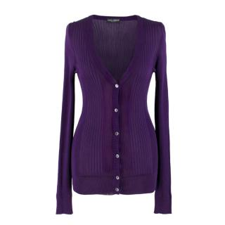 Dolce & Gabbana Purple Ribbed Cardigan