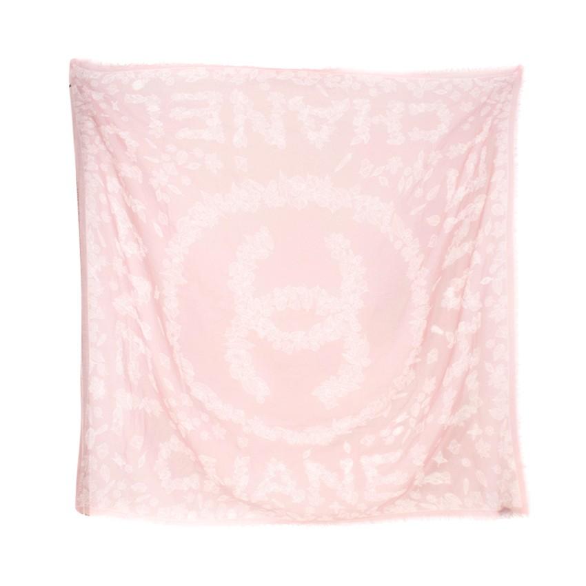 Chanel Rose Pink Leaf Print Cashmere Scarf