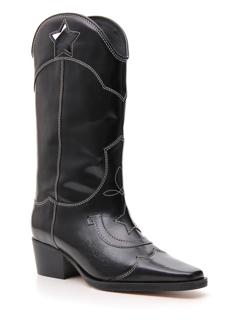 Ganni Black Marlyn 50 cutout star leather cowboy boots - New Season
