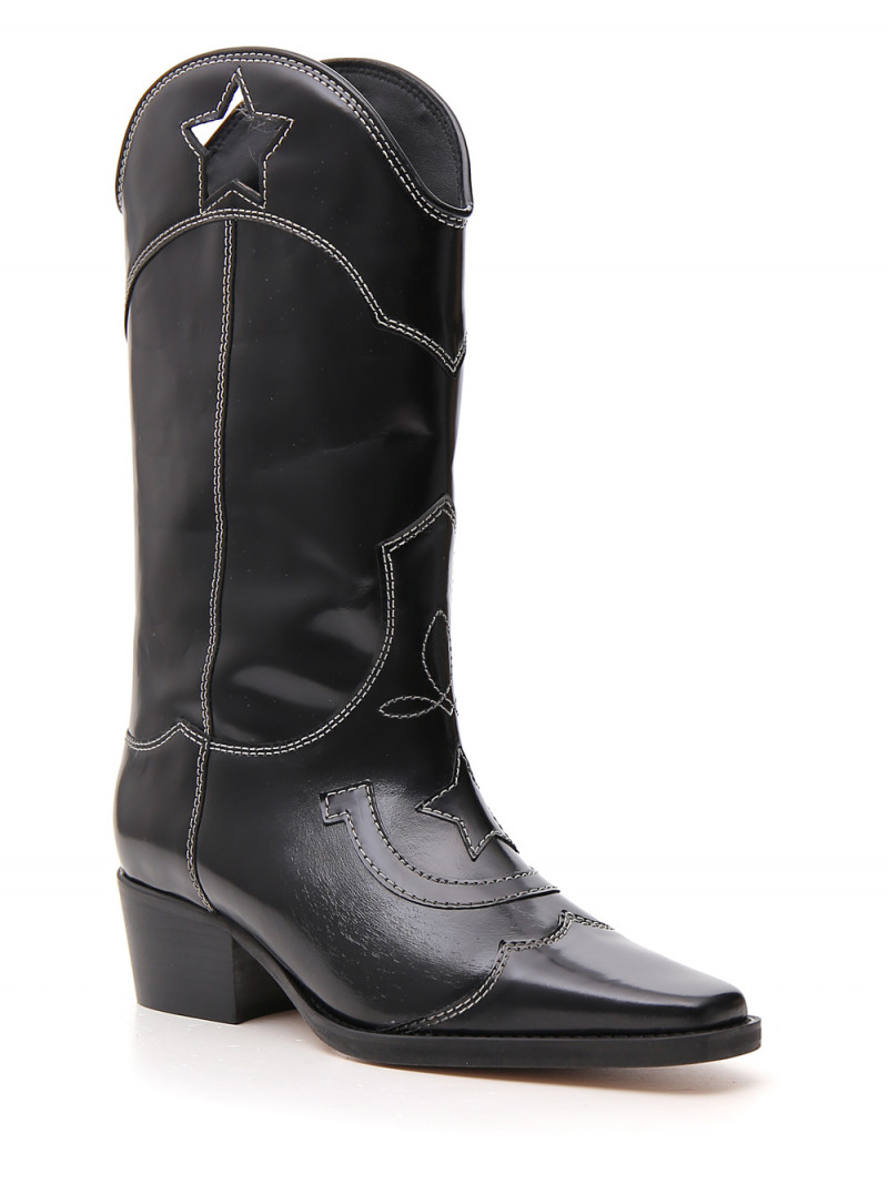Ganni Black Marlyn 50 cutout star leather cowboy boots - New Season