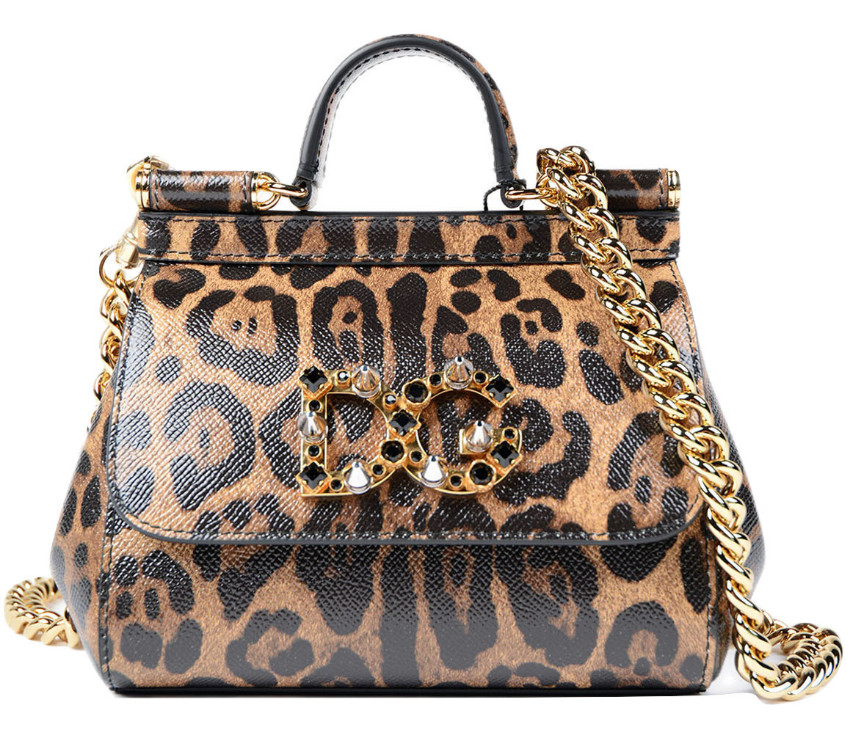 Dolce & Gabbana Brown Mini Dauphine Leopard Print Bag