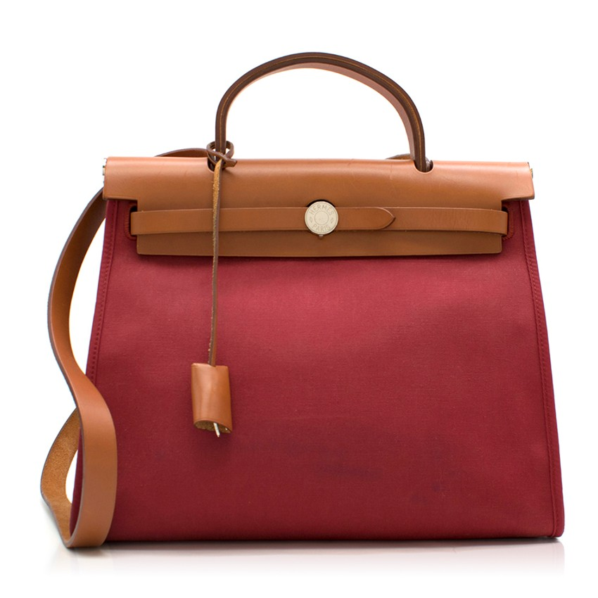 Hermes Rouge Garance Canvas & Leather Herbag Zip PM Bag