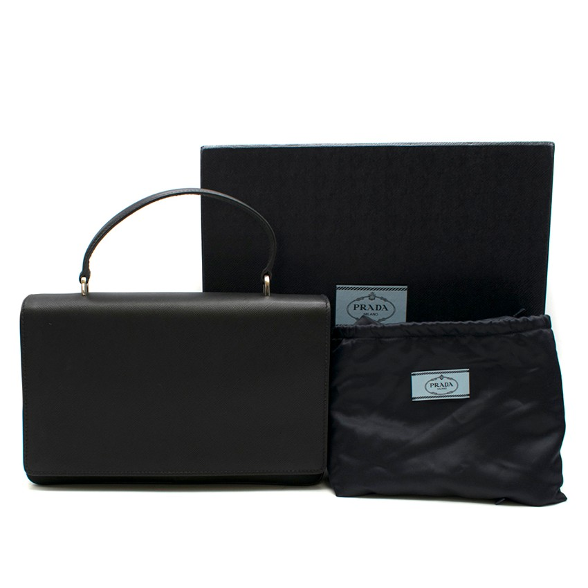 Prada Black Leather & Nylon Tote Bag