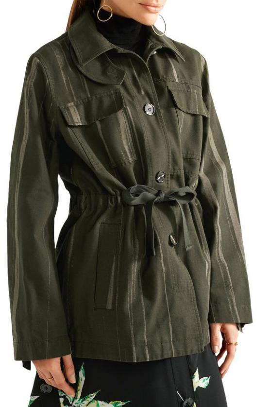 Proenza Schouler Army Green Printed Cotton-Canvas Jacket
