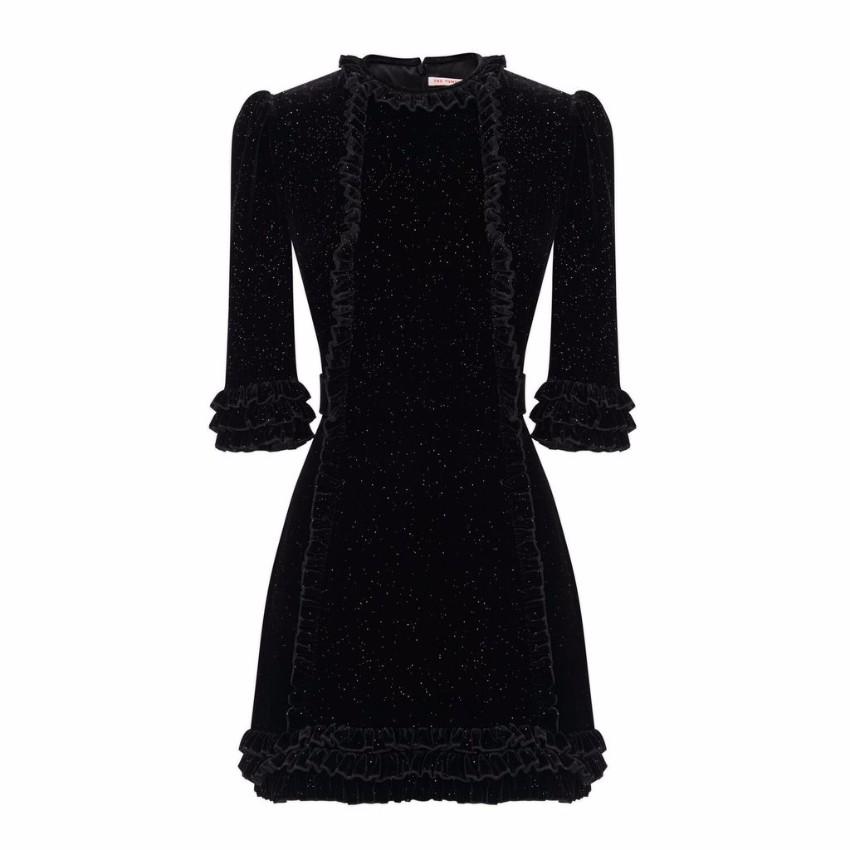 The Vampire's Wife Black Sparkle Velvet Mini Cate Dress - New Season
