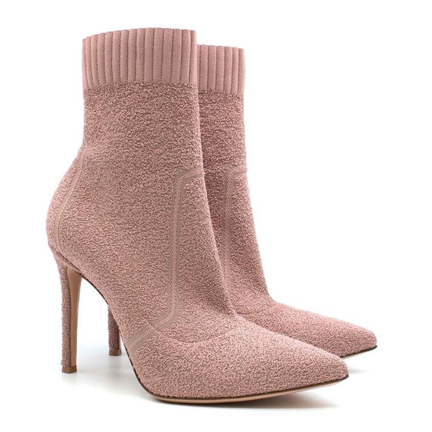 Gianvito Rossi Fiona Boucle Knit Ankle Boots